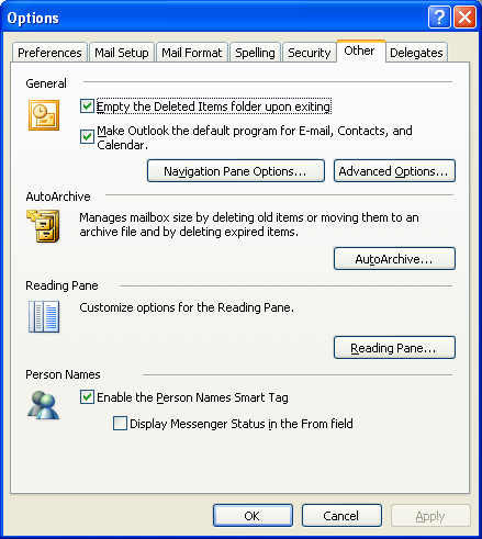 Outlook Options Dialog