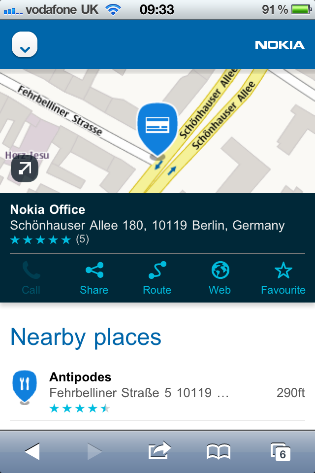 Nokia Places on iOS