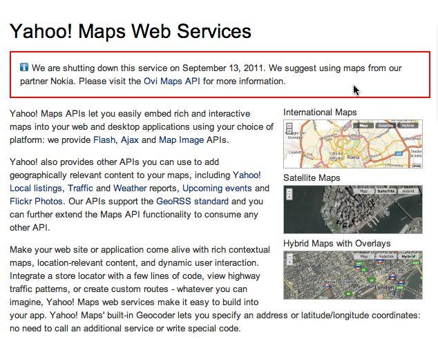 YDN Maps Shutdown